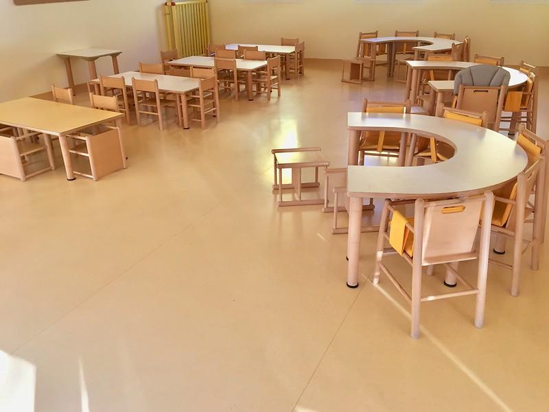 la sala da pranzo dell'asilo nido